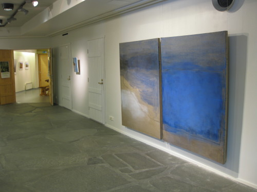 Lompolo, 2011. Pigment, charcoal and acrylic on canvas. Diptych, á 168 x 132 cm.