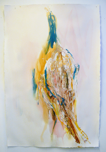 Bird 4, 2015. Acrylic and oil on paper, 154 x 102 cm.